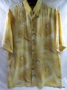 Men's Monzini Collection Lounge Camp Club Hawaiian Waves Shirt Medium #MonziniCollection #ButtonFront