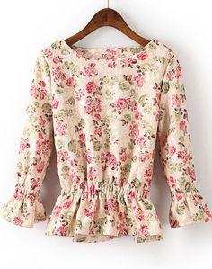 Beige Long Sleeve Ruffle Floral Blouse S.Kr.167.62 Sheinside