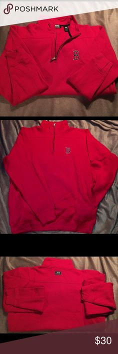 SALE Boston Red Sox 1/4 zip pullover Like NEW! Small MLB red pullover. Super soft  Authentic (most receipts have been posted).  No trades  ✅Only respectable offers made thru the OFFER tool accepted ❣️Please be kind as that's what you'll get in return ☮️Thanks for the opportunity to share my goods w/ u Big Cotton Shirts Sweatshirts & Hoodies