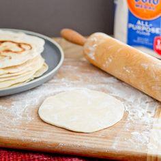 Flour Tortillas(Recipe from Homesick Texan)  Makes 8 medium tortillas    2 cups of flour plus more for rolling  1½ teaspoons baking powder  1 teaspoon salt  2 teaspoons vegetable oil  ¾cups warm milk