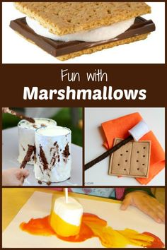 Fun with Marshmallows...Great ideas for playing with, creating with and eating marshmallows. Perfect for camping or a school camping theme.
