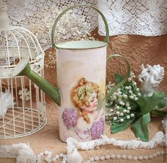 """Лейки ручной работы. Ярмарка Мастеров - ручная работа Винтажная лейка """"Девочка с птичкой"""". Handmade."""