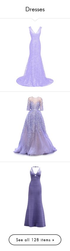 """""""Dresses"""" by arithefallenangel ❤ liked on Polyvore featuring dresses, gowns, bridal gowns, purple prom dresses, long evening dresses, long formal evening gowns, lace prom dresses, dolls, long dresses y satinee"""