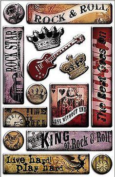 ROCK STAR Epoxy Sticker Sheet Scrapbooking ROCK & ROLL LIVE HARD PLAY HARD