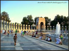 """Stroll the plaza of the World War II Memorial in Washington DC. Find out more at """"Down the Wrabbit Hole - The Travel Bucket List"""". Click the image for the blog post."""