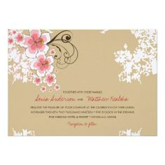 Tropical Hibiscus Pink Beach Wedding Invitation