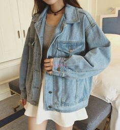 Retro Korean Women Oversize Denim Jeans Jacket Boyfriend Style Coat  B036