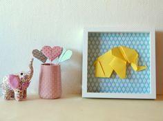 Paper Art, Paper Crafts, Diy Crafts, Origami Elephant, 3d Frames, Creation Deco, Elephant Love, Creative Crafts, Nursery Decor