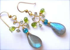Labradorite  Branch Earrings Peridot earrings by Sylviajewelry, $49.00