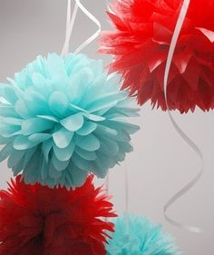 Tissue pompoms...love turquoise and red for the holidays!