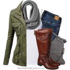 """""""Army green jacket, Gray knit scarf & Knee boots"""" by steffiestaffie on Polyvore"""