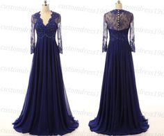 Long Sleeves Long Prom Dress,Women Formal Evening Dress,Handmade Lace Chiffon Mother Of Bridal Dress,A-line Evening Gowns LC140  1.About this