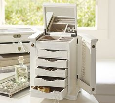"Ultimate Jewelry Box | Pottery Barn--- in White with a ""W"" monogram on mirror."