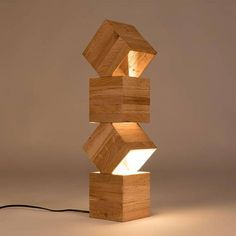 Gracie Oaks This Avocet Column Floor Lamp made from four specially placed wooden boxes to reflect the light in a soft and natural way into your living-room. The design of this beauty is well studied to give you the best light experience. Wooden Floor Lamps, Wood Lamps, Cool Lighting, Lighting Design, Led Color, Luminaire Design, Lampe Led, Recycled Wood, Wood Design