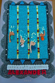 Love the way you push letters into fondant but don't cut all the way out. Swimmer cake