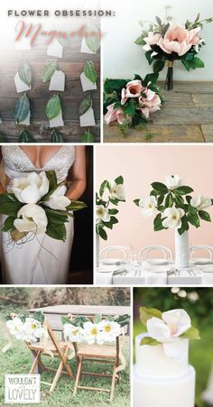 Wedding flower obsession! Magnolias! Magnolia bouquets, centerpieces, decor and cake toppers! Wouldn't it be Lovely