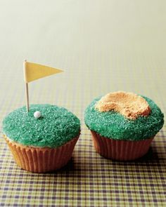 "Present Dad with a bunch of golf-themed cupcakes, complete with putting greens and sand traps, on his special day. The mini greens are adorned with colored sanding sugar, a candy golf ball, and a ribbon flag; graham-cracker crumbs stand in for sand. Buy ""Martha Stewart's Cupcakes"""