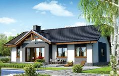 For a typical family, a house with three bedrooms is the ideal home. Here are several small house plans with three bedrooms, with one or two floors. Bungalow Renovation, Bungalow House Plans, Small House Plans, Small House Design, Cottage Design, Casa Retro, Brick Siding, House Viewing, Cottage Plan