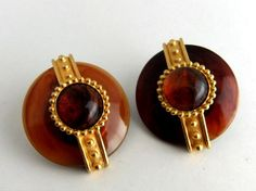 Goldtone & Faux Tortoise Shell Earrings Clip on by ediesbest, $10.00