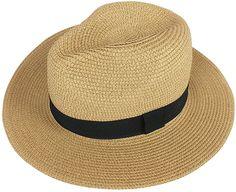 d577f720708 Lanzom Women Wide Brim Straw Panama Roll up Hat Fedora Beach Sun Hat UPF50+  (A-Black) at Amazon Women s Clothing store