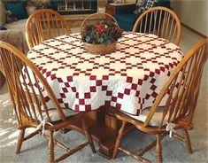 Round Irish Chain Tablecloth Quilt
