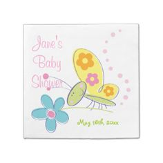 The Happy Butterfly Baby Shower Paper Napkin