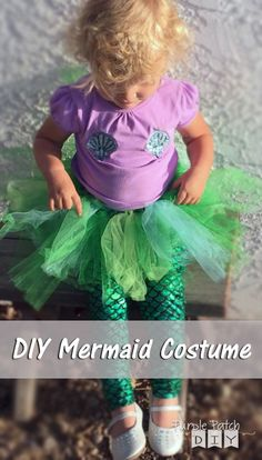 "DIY mermaid costume for kids - no sew and easy to make - plus it's comfortable and ""toddler friendly."""