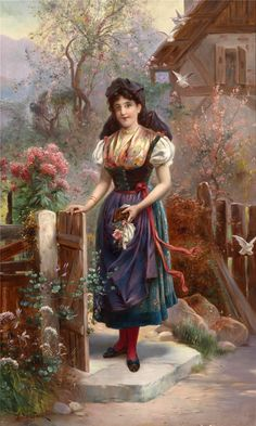 Cross Stitch patterns and kits, Playing With The Kittens, Emile Munier Paintings I Love, Beautiful Paintings, Pre Raphaelite Paintings, Munier, Cottage Art, Historical Art, Art Database, Victorian Art, Woman Painting