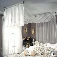 How to hang curtain rods hang curtain rod from ceiling com bedroom decor with hanging curtains designs installing curtain rods over vertical blinds Ceiling Mount Curtain Rods, Hanging Curtain Rods, Ceiling Curtains, Room Divider Curtain, Wall Drapes, Sloped Ceiling Bedroom, String Curtains, Curtain Room, Drapery Rods