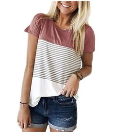 Short Sleeve Round Neck Triple Color Block Stripe T-Shirt Casual Blouse Women T Shirts And Tops Outfits Con Camisa, Fashion Designer, Red Blouses, Casual T Shirts, Casual Jeans, Women's Casual, Casual Boots, Striped Shorts, Denim Shorts
