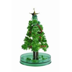 Grow your own mini christmas tree before your eyes with this magic tree! Add the included packet of water to the base of the tree and watch the crystal leaves form over the tree.