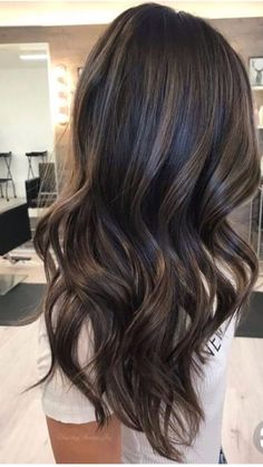 Hair Color Highlights For Brunettes Balayage Ombre Waves 41 Ideas Balayage Brunette Long, Balayage Straight Hair, Brown Hair Balayage, Hair Color Balayage, Rich Brunette, Dark Balayage, Long Brunette, Brunette Color, Hair Color Highlights