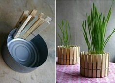 Easy chic clothes pin flower pot. Paint clothespins for variation