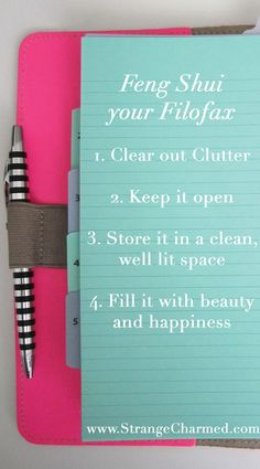 Feng Shui Your Filofax. Or your planner. Your diary, etc! Feng Shui, Best Planners, Day Planners, Personal Planners, Life Planner, Happy Planner, Planner Ideas, Journal Inspiration, Journal Ideas