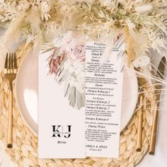 Menu weselne wykonane na papierze w formie dwustronnej karty  #Menu #rusticPampas #menuweselne #wesele Menu, Rustic, Menu Board Design, Country Primitive, Farmhouse Style, Country
