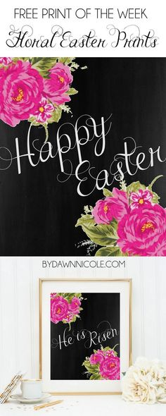 Free Print of the Week: Floral Chalkboard Easter Prints | bydawnnicole.com