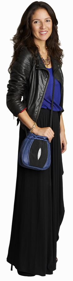 Colour and shape - Jewel tone and black, biker jacket and asymmetrical skirt, egyptian necklace
