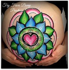 Mandala baby bump painting by Fey Faces
