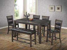 """6 pc Pleasanton collection light espresso finish wood counter height dining table set. This set includes the Table, 4 - chairs and bench. Table measures 42"""" x 66"""" x 36"""" H. Side chairs measure 19"""" x 21"""" x 41"""" H. Bench measures 17"""" x 46"""" x 25"""" H. Some assembly required."""