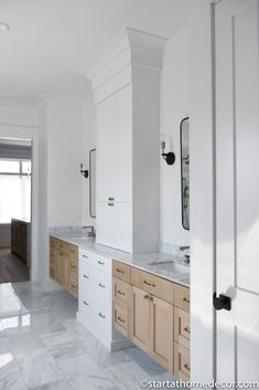 Master Bathroom Reveal | Master Bathroom Tower | Quarter sawn White Oak | Marble bathroom | Start at Home Decor Bathroom Tower, Bathroom Fixtures, Dream Master Bedroom, Master Bathroom, Freestanding Tub Filler, Quarter Sawn White Oak, Neutral Kitchen, Floating Vanity