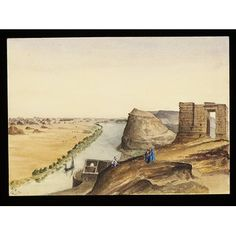 "Watercolour - `Ibreem - The Ancient Castle of Premnis (parva)  Nubia.  Frontier Cantonment of the Romans  ""On the Nile"""