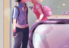 Pokémon XYZ anime. the kisss!!!! OTP IS canon ash and Serena satosere!