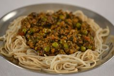 Spicy Ground Lamb on Noodles