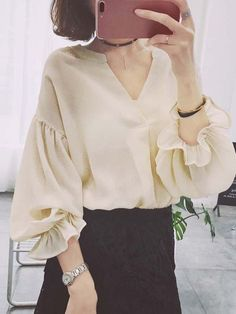 V Neck Blouse Women Ruffle Sleeve Arm Cover . Iranian Women Fashion, Muslim Fashion, Hijab Fashion, Korean Fashion, Fashion Outfits, High Fashion Dresses, Modest Fashion, Sleeves Designs For Dresses, Camisa Formal
