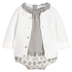 Mebi Baby Girls Grey Blouse, Shorts & Cardigan Set at Childrensalon.com