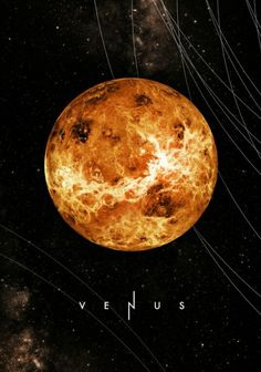 Venus is the second planet from the Sun and the third brightest object in Earth's sky after the Sun and Moon. It is sometimes referred to as the sister planet to Earth, because their size and mass are so similar. Venus is also the closest planet to Earth. Cosmos, Space Planets, Space And Astronomy, Galaxy Planets, Planeta Venus, Illustration Inspiration, Space Illustration, Galaxy Space, Our Solar System