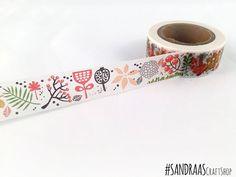 Floral washi tape, flowers washi tape, flowers pattern, spring washi tape, printed paper tape, embellishment, craft tape (0106)