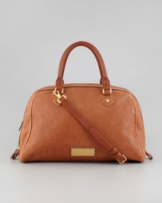 MARC by Marc Jacobs Washed Up Lauren Leather Satchel Bag, Tan - Neiman Marcus