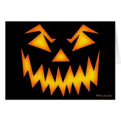 Scary Jack O' Lantern Face Greeting Card by Grant Greetings