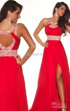 Wholesale 2014 Sexy Prom Dresses Custom Made New Halter Neck Red Chiffon Formal Evening Dresses 81462P, Free shipping, $99.0/Piece | DHgate Mobile